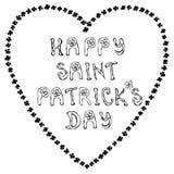 Dia feliz de Patrick de Saint s Entregue a tipografia tirada da rotulação do dia de St Patrick s para o cartão, cartão, inseto, m Fotos de Stock