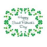 Dia feliz de Patricks de Saint no quadro do trevo Imagem de Stock