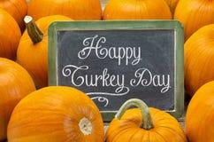 Dia feliz de Turquia no quadro-negro Fotografia de Stock Royalty Free