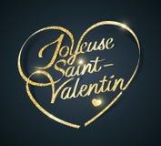 Dia feliz de Valentine's em francês: Saint-Valentin de Joyeuse ilustração stock