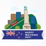 Dia feliz de Waitangi, o 6 de fevereiro Zeland novo Wellington ilustração stock