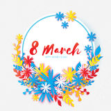 Dia feliz do `s da matriz Flor de papel da grinalda 8 de março Quadro do círculo Imagem de Stock