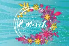 Dia feliz do `s da matriz Flor de papel da grinalda 8 de março Quadro do círculo ilustração do vetor