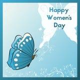 Dia feliz do ` s das mulheres Cartão com borboleta Cartão do molde azuis e cores brancas Imagem de Stock