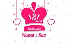 Dia feliz do ` s das mulheres, coroa da rainha com coração no fundo branco Imagens de Stock Royalty Free