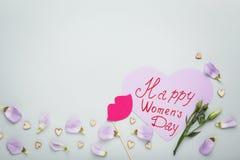 Dia feliz do ` s das mulheres da inscrição Fotografia de Stock Royalty Free