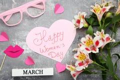 Dia feliz do ` s das mulheres da inscrição Fotos de Stock