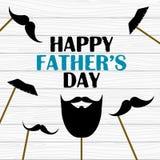 Dia feliz do ` s do pai Cartão do vetor com os suportes falsificados da foto dos bigodes Fotografia de Stock