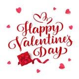 Dia feliz do `s do Valentim Rotulação do vetor Texto do cumprimento do feriado Fundo do dia de Valentim com caixa de presente e c Imagens de Stock