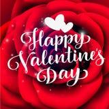 Dia feliz do `s do Valentim Rotulação do vetor Texto do cumprimento do feriado no fundo floral Foto de Stock Royalty Free