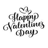 Dia feliz do `s do Valentim Rotulação do vetor Texto do cumprimento do feriado Preto no branco Fotografia de Stock