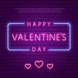 Dia feliz do `s do Valentim Texto de incandescência do néon Imagens de Stock