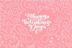 Dia feliz do Valentim s da frase da caligrafia com corações Rotulação tirada mão do cartão do dia de Valentim do vetor Feriado do ilustração do vetor