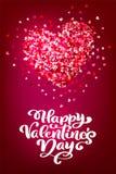 Dia feliz do Valentim s da frase da caligrafia com corações Rotulação tirada mão do dia de Valentim do vetor Esboço do feriado do ilustração royalty free