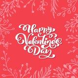Dia feliz do Valentim s da frase da caligrafia com corações Rotulação tirada mão do dia de Valentim do vetor Esboço do feriado do ilustração stock