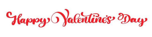 Dia feliz do Valentim s da frase da caligrafia Rotulação tirada mão do dia de Valentim do vetor Coração isolado da ilustração ilustração stock