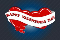 Dia feliz do Valentim s, dois corações no amor com uma fita Fotos de Stock Royalty Free