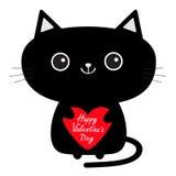 Dia feliz dos Valentim Ícone bonito do gato preto que guarda o coração vermelho Personagem de banda desenhada engraçado Animal de Fotografia de Stock