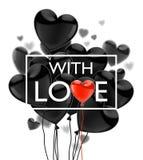 Dia feliz dos Valentim Balões lustrosos realísticos do voo preto em um fundo branco Ilustração do vetor ilustração royalty free