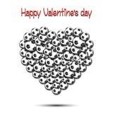 Dia feliz dos Valentim Coração das bolas de futebol ilustração royalty free