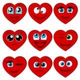 Dia feliz dos Valentim Coração dos desenhos animados com muitas emoções Imagens de Stock
