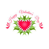 Dia feliz dos Valentim Coração e planta vermelhos ilustração stock