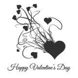 Dia feliz dos Valentim Exploda do coração preto ilustração do vetor