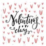 Dia feliz dos Valentim Letras caligráficas Foto de Stock