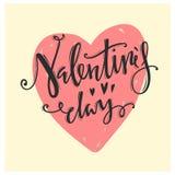 Dia feliz dos Valentim Letras caligráficas Fotos de Stock Royalty Free