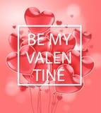 Dia feliz dos Valentim Rosa que voa balões lustrosos realísticos em um fundo cor-de-rosa Ilustração do vetor ilustração royalty free
