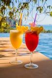 Dia fresco de Juice At Poolside On Sunny da manga e da melancia Imagem de Stock Royalty Free