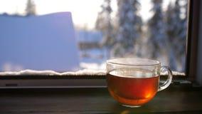 Dia gelado do inverno Um copo do chá quente na manhã filme