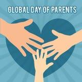 Dia global do ` s do pai Ilustração para o feriado As mãos são conectadas Lugar para o texto Imagens de Stock