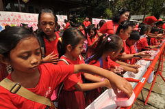 Dia Handwashing global em Indonésia Fotografia de Stock