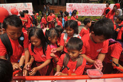 Dia Handwashing global em Indonésia Foto de Stock