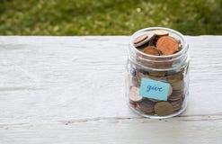 Dia i soldi alla carità Fotografia Stock Libera da Diritti