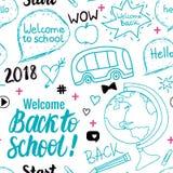 Dia il benvenuto a di nuovo al modello senza cuciture della scuola 2018 Elementi stabiliti di tiraggio della mano di vettore isol Illustrazione di Stock