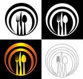 Dia il coltello e la forcella a cucchiaiate su un logo astratto di approvvigionamento del fondo del piatto Fotografie Stock Libere da Diritti