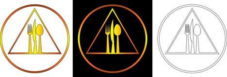 Dia il coltello e la forcella a cucchiaiate su un logo astratto di approvvigionamento del fondo del piatto Fotografia Stock