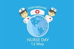 Dia internacional da enfermeira em maio cada projeto do ano pelo vetor no conceito do tom da tonalidade ilustração stock