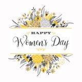 Dia internacional das mulheres s Molde do vetor com flores e rotulação Foto de Stock Royalty Free