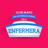 Dia internacional de la enfermera, 12 de马约角,国际护士天可以12西班牙人文本 免版税库存图片