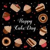 Dia internacional do bolo Vector a ilustração de uma inscrição entre queques, bolos, e anéis de espuma 20 DE JULHO Fotos de Stock Royalty Free