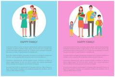 Dia internacional do cartaz das famílias ajustado com texto ilustração do vetor