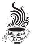Dia internacional do chá 15 de dezembro lettering Ilustração do vetor no fundo branco Imagem isolada Pode ser usado como um logot ilustração stock