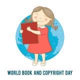 Dia internacional do livro de crianças Vector a ilustração de uma menina com um livro Foto de Stock Royalty Free