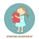 Dia internacional do livro de crianças Vector a ilustração de uma menina que guarda um livro Fotos de Stock