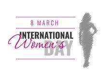 Dia internacional do ` s das mulheres Ilustração do vetor com silhueta fêmea Imagens de Stock Royalty Free