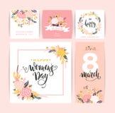 Dia internacional do ` s das mulheres Moldes do vetor com flores e rotulação Foto de Stock