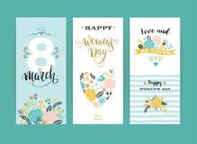 Dia internacional do ` s das mulheres Moldes do vetor com flores e rotulação Imagem de Stock